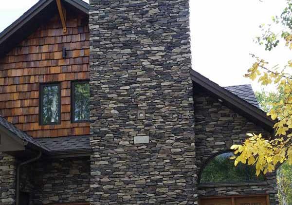 stone chimney on house